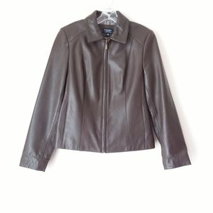 Sonoma | Brown Long Sleeve Leather Jacket Sz S
